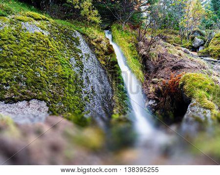 Horizontal Vivid Norway Waterfall Flow Bokeh Abstraction Nature