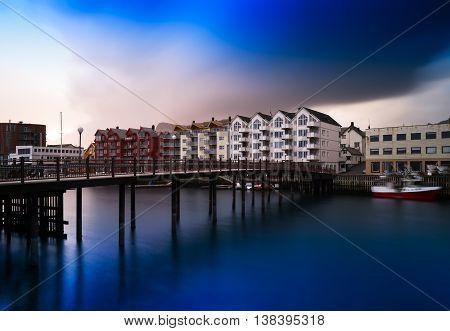 Horizontal Vivid Norway Town Bridge Cityscape Background Backdro
