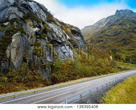 Horizontal Vivid Mountain Norway Road Landscape Background Backd