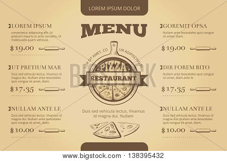 Restaurant cafe pizzeria menu vector template design. Menu for restaurant, illustration template menu for pizzeria