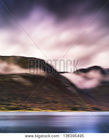 Vertical Vibrant Harsh Norway Fjord Landscape Abstraction Backgr