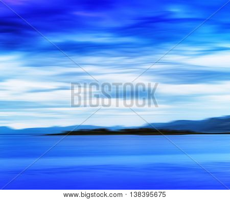 Horizontal Vivid Vibrant Blue Norway Island Landscape Motion Abs