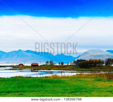 Horizontal Vivid Norwat Fjord Hills Landscape Background Backdro