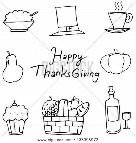 Doodle of fruit element Thanksgiving vector art
