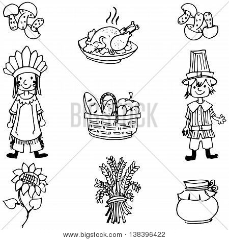 Doodle of Thanksgiving food and people illustration