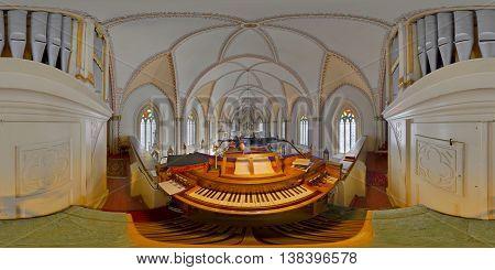 CLUJ-NAPOCA, ROMANIA - December 13: 360 panorama of the interior (pipe organ) of Saint Peters' Church on December 13th, 2015, in Cluj-Napoca, Transylvania, Romania.