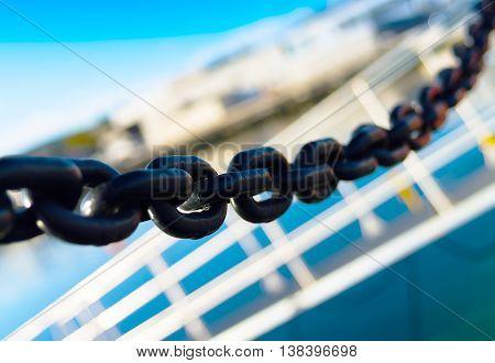 Horizontal vivid metal chain blue sky ladder composition background backdrop