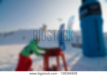 Snowboard action theme creative abstract blur background with bokeh effect