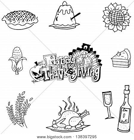 Doodle of Thanksgiving fruit vegetable food vector