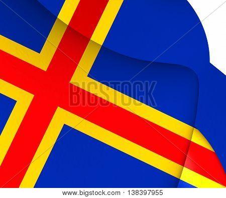 Flag of Aland Finland. 3D Illustration. Close Up.