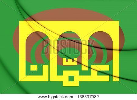 Flag of Amman Jordan. 3D Illustration. Close Up.