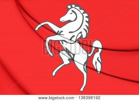 Flag Of Kent County, England. 3D Illustration.
