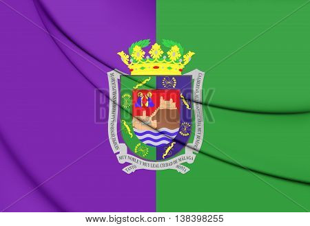 Flag Of Malaga City, Spain. 3D Illustration.