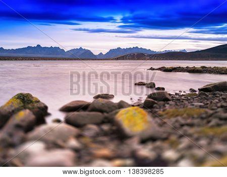 Horizontal Typical Norway Landscape With Bridge Bokeh Vignette B