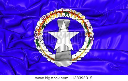 Flag Of Northern Mariana Islands. 3D Illustration.