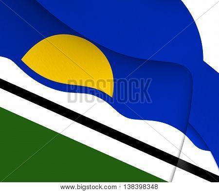 Flag of Quissama Brazil. 3D Illustration. Close Up.