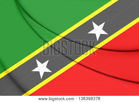 Federation Of Saint Kitts And Nevis Flag. 3D Illustration.