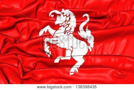 Flag of Twenterand Netherlands. 3D Illustration. Close Up.