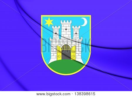 Flag of Zagreb Croatia. 3D Illustration. Close Up.