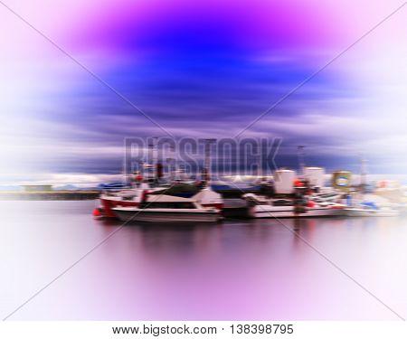 Horizontal Vivid Vibrant Norway Ship Quay Landscape Abstraction