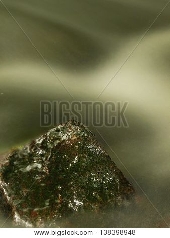 Wet slipper stone in stream of cold mountain river