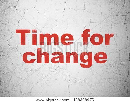 Timeline concept: Red Time for Change on textured concrete wall background