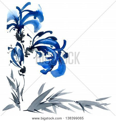 Blue flowers bouquet. Background with corner composition for cards invitation. Watercolor and ink painting in style gohua sumi-e u-sin. Oriental traditional painting.