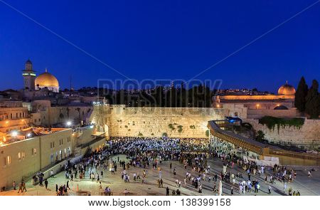 Jerusalem, Israel - July 01, 2016: Shabbat Prayer Near The Western Wall