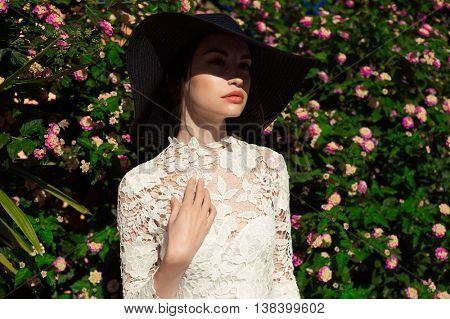 Outdoor fashion art photo of elegant lady in an old European town