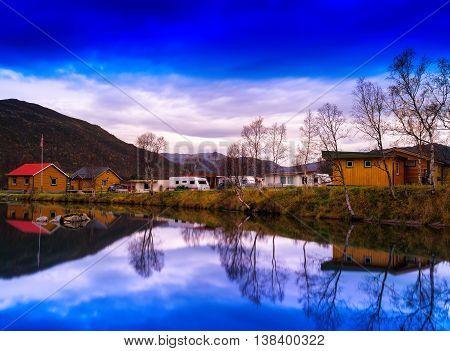 Horizontal Vivivd Norway Camping Landscape Background Backdrop