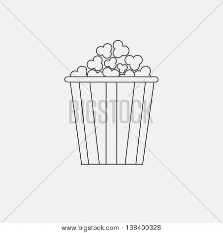 Popcorn box icon. Cinema movie line icon in flat design style. White background. Isolated. Vector illustration