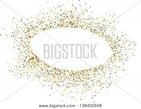 White oval background with sand. Vector paper illustration.
