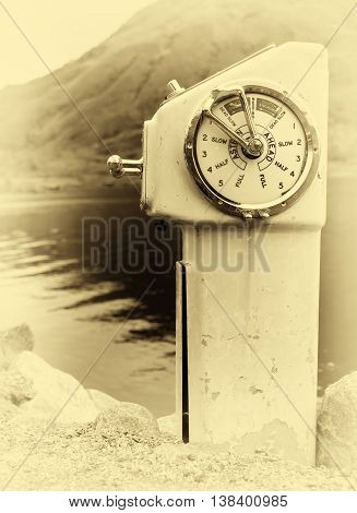 Vertical sepia vintage ship engine control background backdrop