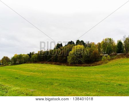Horizontal danish field hills with white sky background backdrop