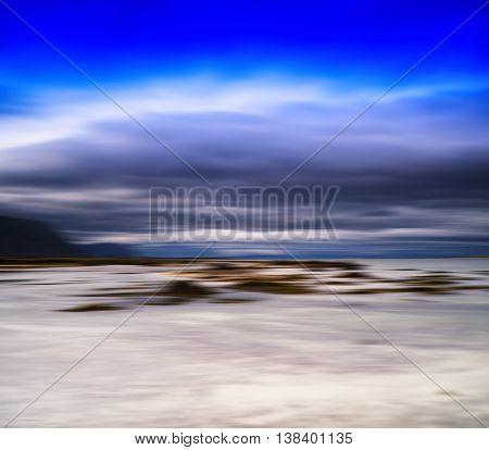 Horizontal motion blur Norway landscape background backdrop