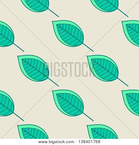 Green leaves nature seamless pattern. Vector illustration