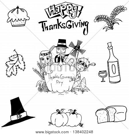 Thanksgiving element doodle art with hand draw