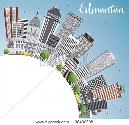 Edmonton Skyline with Gray Buildings, Blue Sky and Copy Space. Business Travel and Tourism Concept with Modern Buildings. Image for Presentation Banner Placard and Web Site.