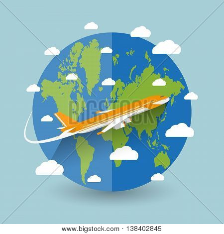 Travel concept. World map, airplane, clouds on blue background. vector illustration in flat design