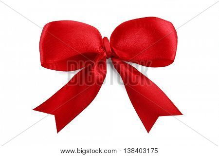 Red ribbon bow-knot on white background