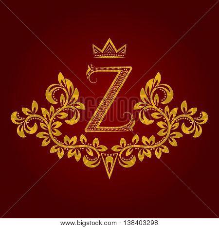 Patterned golden letter Z monogram in vintage style. Heraldic coat of arms. Baroque logo template.
