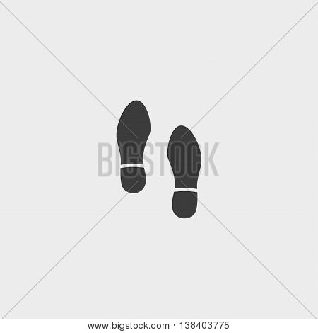 Footprints shoe icon in a flat design in black color. Vector illustration eps10