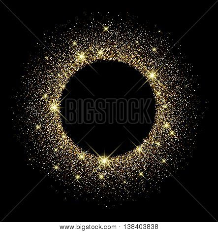 Black shining round background with sand. Vector paper illustration.