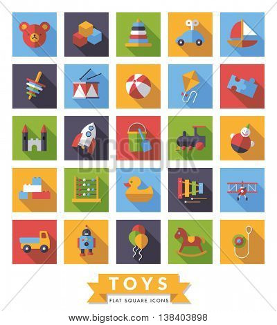 Collection of square flat design long shadow children??s toys icons