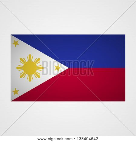 Philippines flag on a gray background. Vector illustration