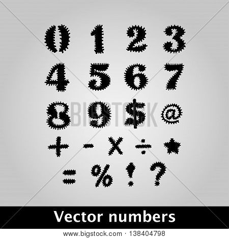 Thorny black symbols and numbers on grey background