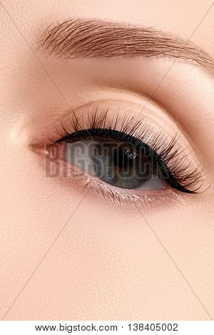 Shot Of Woman's Beautiful Eye With Extremely Long Eyelashes