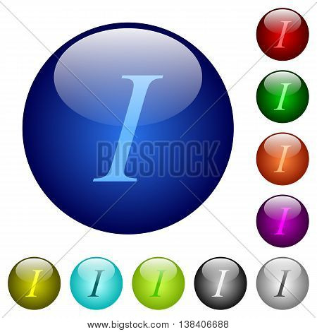 Set of color italic font type glass web buttons.