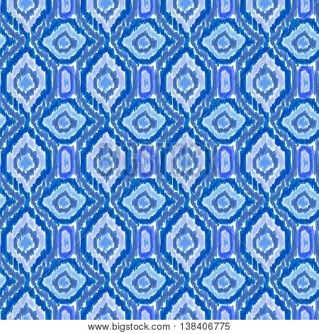 Boho Tie Dye Shibori Pattern Watercolor Blue