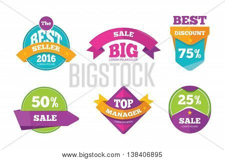 Discount tags banners and stickers vector collection for digital marketing. Badge template for shopping business, special tag and label for promotion shopping illustration